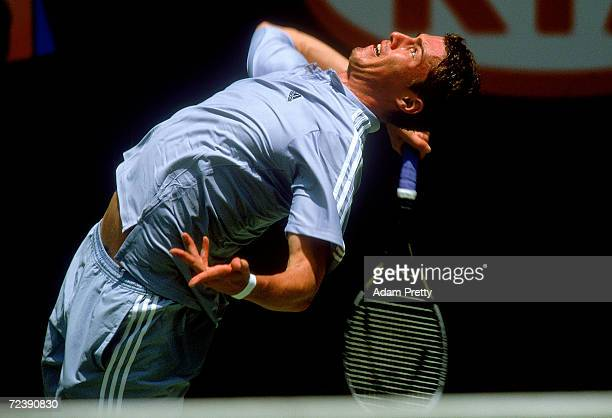 Marat Safin during the Australian Open Tennis Championships at Melbourne Park in Melbourne Australia on January 16 2003