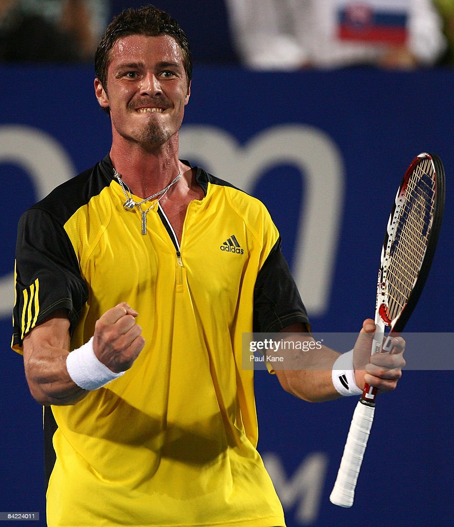 Marat Safin of Russia celebrates a point against Dominik Hrbaty of the Slovak Republic during the 2009 Hopman Cup day seven men's final match between...