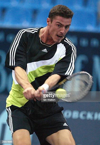 Marat Safin of Russia in action against Waye Black of Zimbabwe during the ATP and WTA Kremlin Cup October 1 2003 at the Olympic Stadium in Moscow