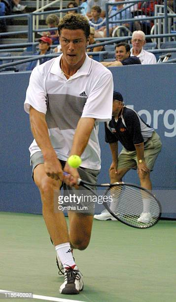 Marat Safin of Russia opens his defense of his US Open Men's Title with a 64 62 62 win over Sebastien de Chaunac of France