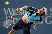 Marat Safin of Russia serves to Dominik Hrbaty of Slovakia during the Western Southern Financial Group Masters on August 18 2005 the Lindner Family...