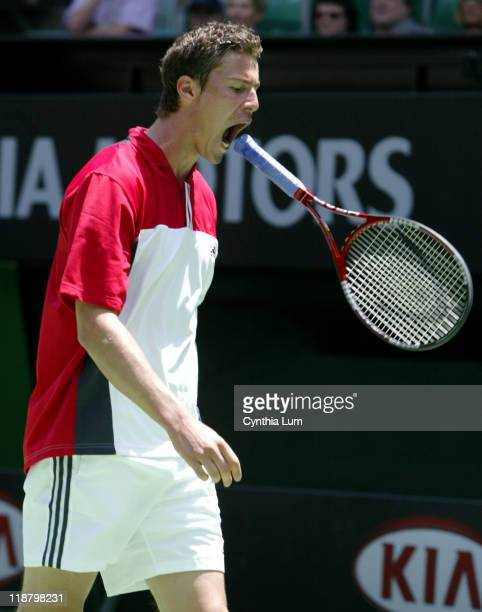 Marat Safin reacts to loosing second set to Todd Martin in his 75 16 46 60 75 match at the Australian Open Melbourne January 23 2004