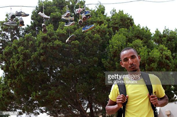 Marathon runner Ageze Guadie a 27yearold Israeli of Ethiopian origin poses for a photo in the trailer park where he lives in Netanya near Tel Aviv on...