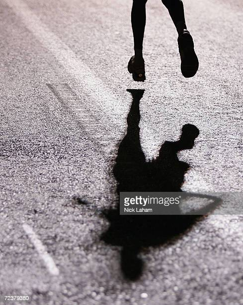 A marathon runner heads for the finish line in the men's marathon on August 29 2004 during the Athens 2004 Summer Olympic Games at Panathinaiko...