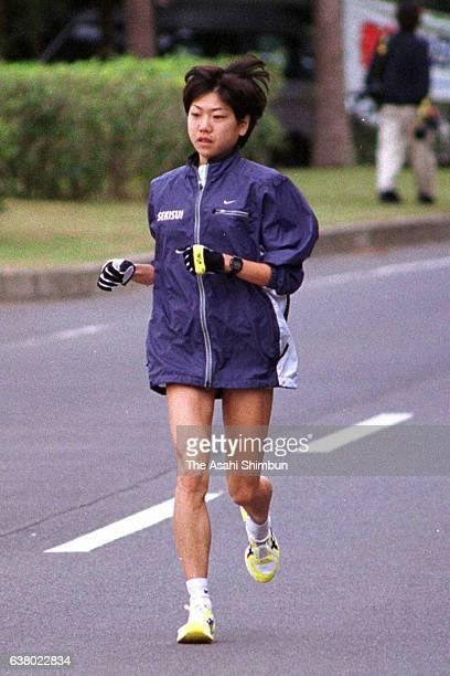 Marathon runner Naoko Takahashi runs during a training session on February 10 2000 in Tokunoshima Kagoshima Japan