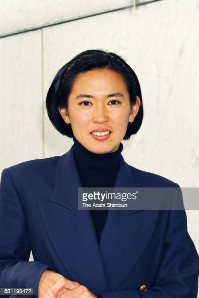 Marathon Runner Yuko Arimori speaks during the Asahi Shimbun interview on November 24 1993 in Tokyo Japan