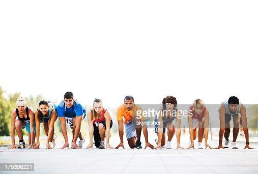 Marathon runners at the starting line.