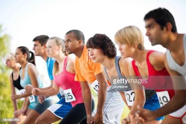 Marathon-Läufer auf der Startlinie.