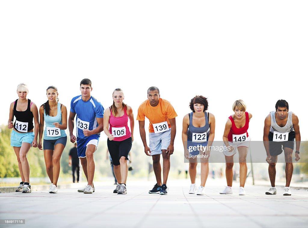 Marathon runners at the starting line