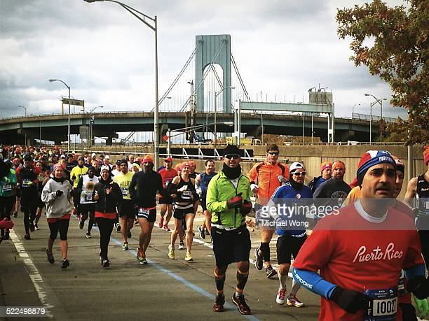 NYC marathon runners just crossing the Verrazano bridge into Brooklyn