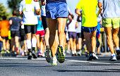 Marathon runners colorful mass