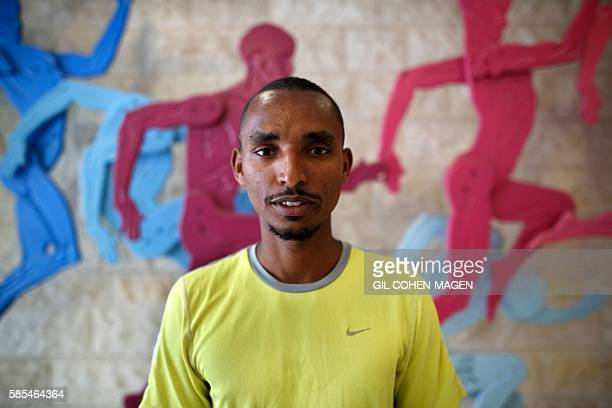 Maraton runner Ageze Guadie a 27yearold Israeli of Ethiopian origin poses for a photo after training at the Wingate Institute in Netanya near Tel...