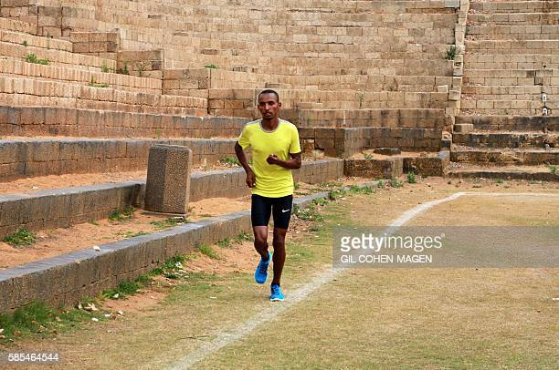 Maraton runner Ageze Guadie a 27yearold Israeli of Ethiopian origin trains at the Wingate Institute in Netanya near Tel Aviv on May 13 2016 He was...
