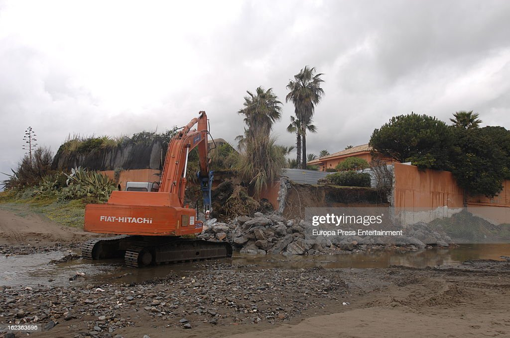 Marbella authorities force Antonio Banderas to set back the wall of his beach house 1,200 meters to legalize his home garden, seen on February 22, 2013 in Malaga, Spain. Last year he was ordered to knock down a 300-square foot wing of the mansion. He is still appealing that decision. Now he has also been ordered to hand over part of his garden. Spain's socialist government ordered a crack down on illegally built coastal homes last year. Beachfront properties along 500 miles of the country's coastline are being targeted.