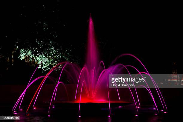 Marble Arch Fountains turns pink in the lead up to Breast Cancer Campaign's wear it pink on October 23 2013 in London United Kingdom
