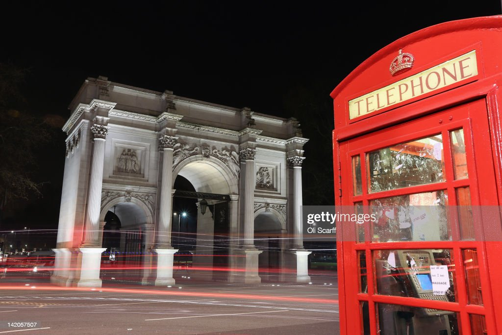 Marble Arch is illuminated at night on March 28, 2012 in London, England.