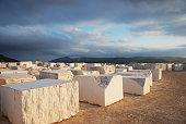marble blocks in evening sun