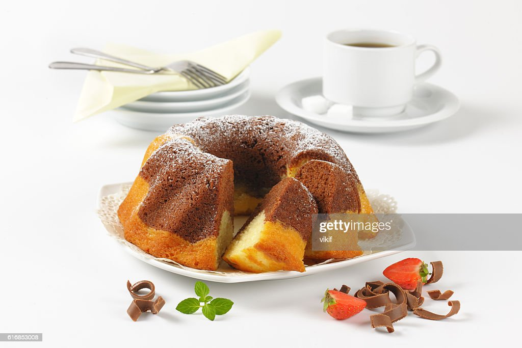 marble bundt cake and coffee : Stock Photo