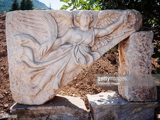 Marble carving of goddess Nike, ancient Ephesus, Turkey