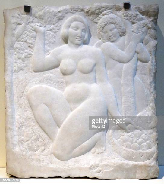 Marble carving titled 'Youth and Love' by Enric Casanovas Catalan sculptor Dated 1914