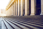 Marble columns, and stairs backgrounds, New York City, USA