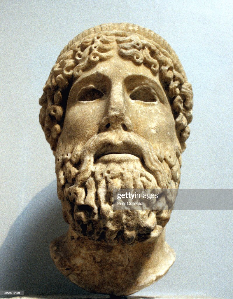 marble head probably of the ancient greek god zeus possibly 1st