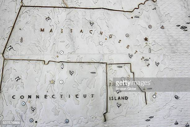 A marble map of New England is on display in the lobby of the Boston Globe's building on Morrissey Boulevard in Dorchester June 1 2016 As the Globe...