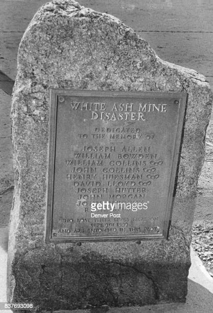 Marble Marker commemorates Golden Tragedy Ten Golden miners were killed in White Ash Mine disaster Credit Denver Post
