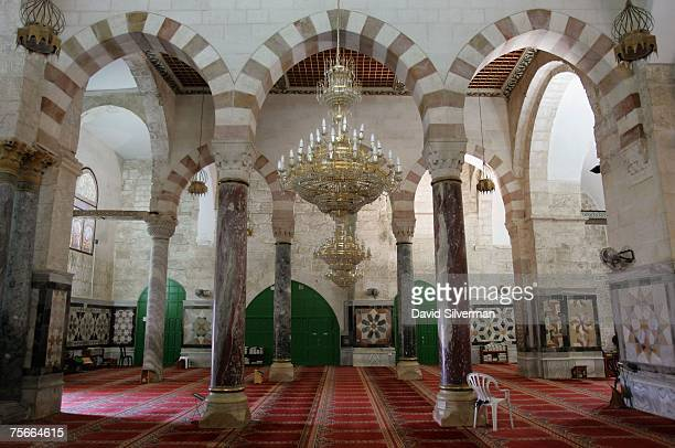 Marble panels and columns and modern mamlukstyle arches decorate the western arcade of the alAqsa mosque on July 18 2007 on the Temple Mount known as...