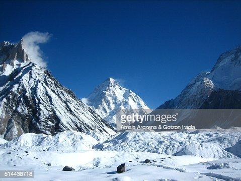 K2 Base Camp At Night Marble Peak and K2 mountain from Concordia camp site in Karakorum ...