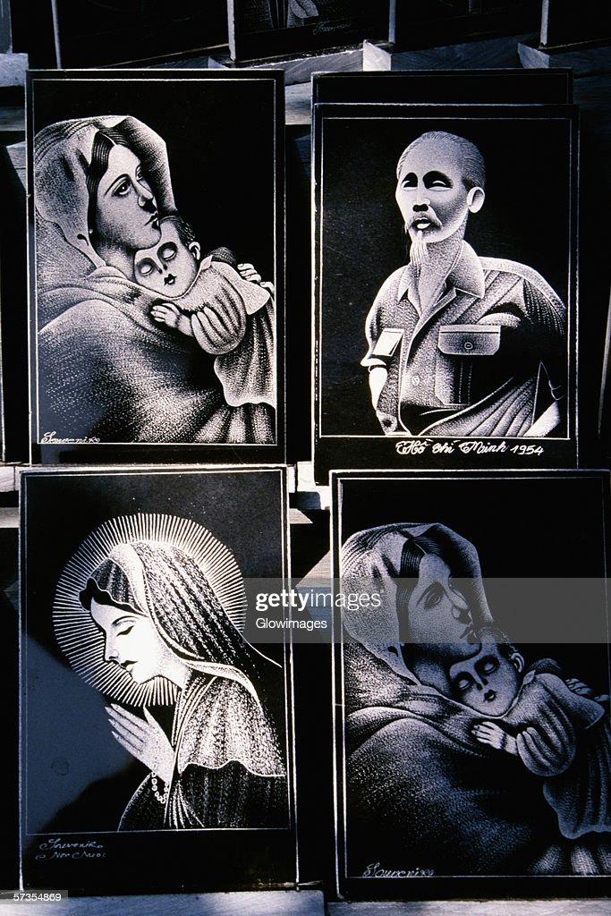 Marble portraits in Danang, Vietnam : Stock Photo