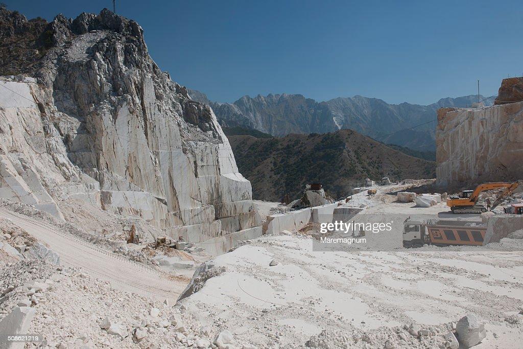 Marble quarry near Colonnata : Stock Photo
