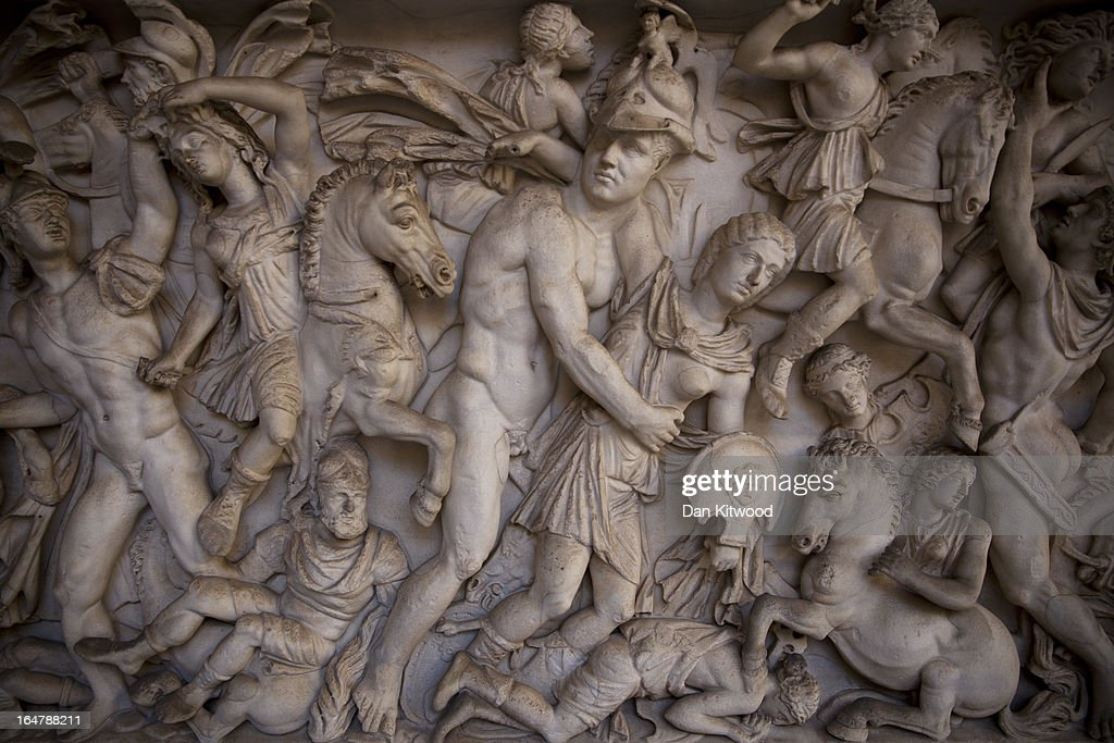 A marble sarcophagus in the Octagonal Courtyard inside the Vatican Museum is displayed on March 21 2013 in Vatican City Vatican