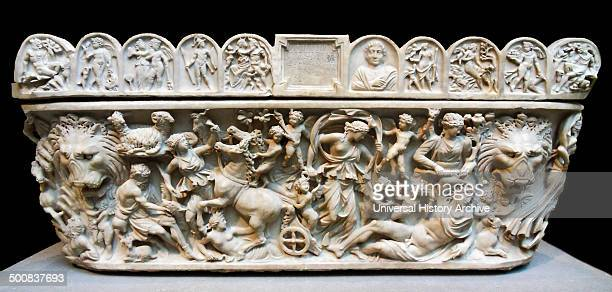 marble sarcophagus with the myth of Selene and endymion early 3rd century AD Roman An inscription at the centre of the lid informs us that this...