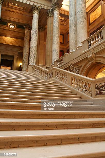 Marble Staircase and Columns, Minnesota State Capitol Interior, St. Paul