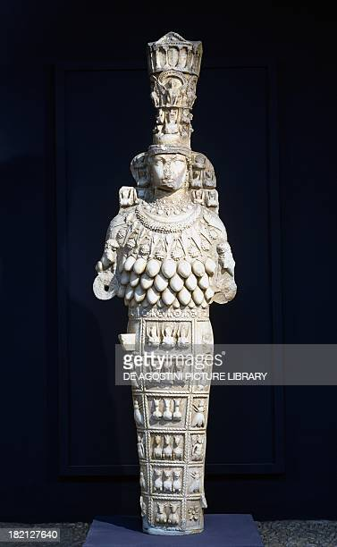 Marble statue of Artemis copy of the colossal statue of the Artemision or Temple of Artemis artefact uncovered in the Prytaneum of Ephesus Turkey...