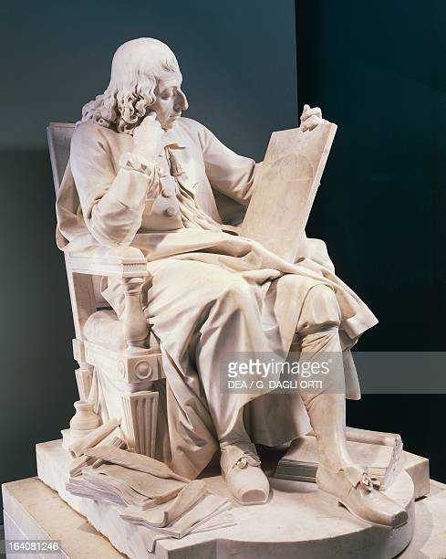 Marble statue of Blaise Pascal French scientist and philosopher By Augustin Pajon height 146 m Paris Musée Du Louvre
