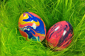 eggs in virtual grass with marbled painting