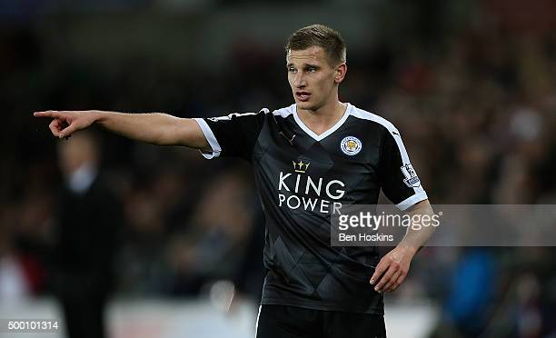 Marc Albrghton of Leicester in action during the Barclays Premier League match between Swansea City and Leicester City at Liberty Stadium on December...