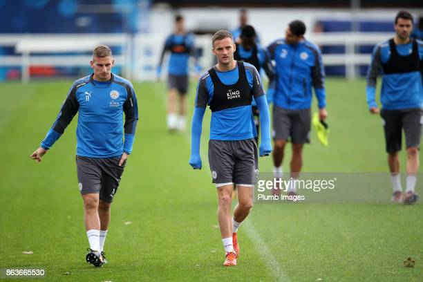 Marc Albrighton and Andy King during the Leicester City training session at Belvoir Drive Training Complex on October 20 2017 in Leicester United...