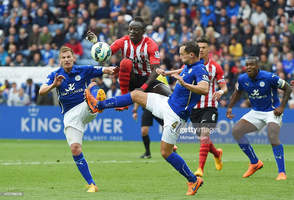 Marc Albrighton and Daniel Drinkwater of Leicester City battles with Sadio Mane of Southampton during the Barclays Premier League match between Leicester City and Southampton at The King Power Stadium on May 9, 2015 in Leicester, England.