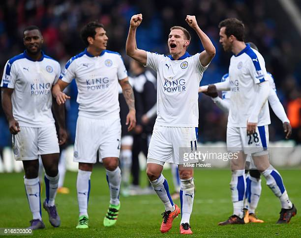Marc Albrighton and Leicester City players celebrate their 10 win in the Barclays Premier League match between Crystal Palace and Leicester City at...