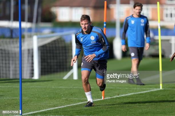 Marc Albrighton during the Leicester City training session at Belvoir Drive Training Complex on October 12 2017 in Leicester United Kingdom