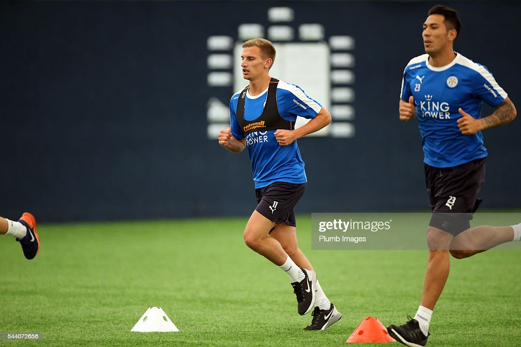 <a gi-track='captionPersonalityLinkClicked' href=/galleries/search?phrase=Marc+Albrighton+-+Winger&family=editorial&specificpeople=5734412 ng-click='$event.stopPropagation()'>Marc Albrighton</a> during the testing session as the first set of Leicester City Players return for pre-season at Belvoir Drive Training Complex on July 1, 2016 in Leicester, United Kingdom.