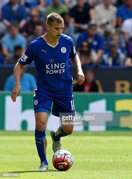 Marc Albrighton in action during the Barclays Premier League match between Leicester City and Sunderland at The King Power Stadium on August 8 2015...