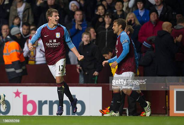 Marc Albrighton of Aston Villa celebrates after scoring his goal for Aston Villa and the 20000th Premier League goal during the Barclays Premier...