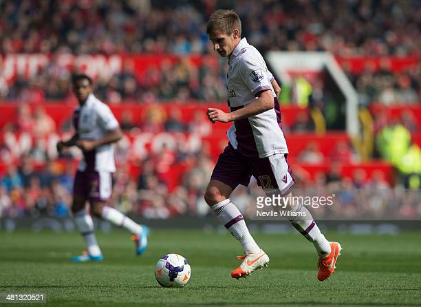 Marc Albrighton of Aston Villa during the Barclays Premier League match between Manchester United and Aston Villa at Old Trafford on March 29 2014 in...
