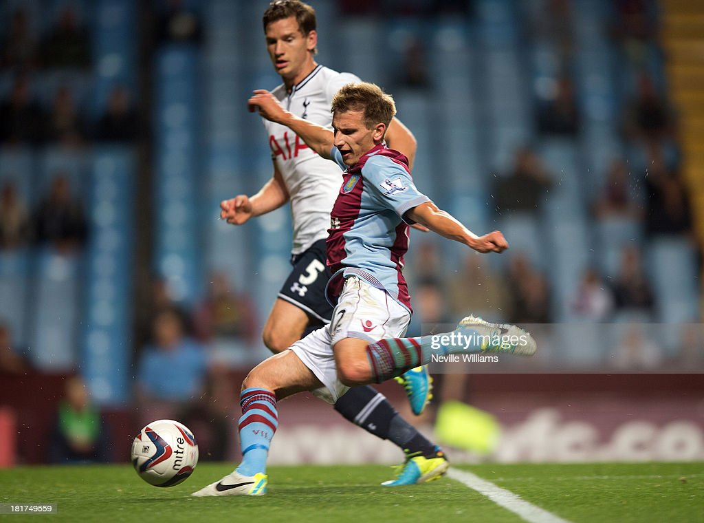 <a gi-track='captionPersonalityLinkClicked' href=/galleries/search?phrase=Marc+Albrighton+-+Winger&family=editorial&specificpeople=5734412 ng-click='$event.stopPropagation()'>Marc Albrighton</a> of Aston Villa is challenged by <a gi-track='captionPersonalityLinkClicked' href=/galleries/search?phrase=Jan+Vertonghen&family=editorial&specificpeople=1360499 ng-click='$event.stopPropagation()'>Jan Vertonghen</a> of Tottenham Hotspur during the Capital One Cup Third Round match between Aston Villa and Tottenham Hotspur at Villa Park on September 24, 2013 in Birmingham, England.