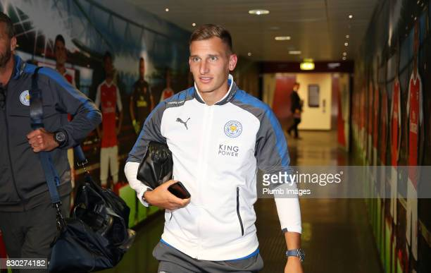 Marc Albrighton of Leicester City arrives at Emirates Stadium ahead of the Premier League match between Arsenal and Leicester City at Emirates...