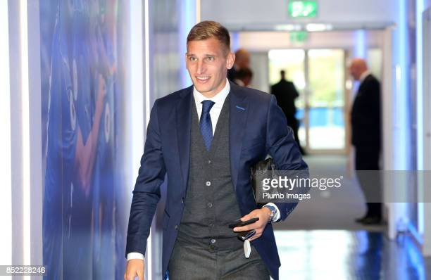 Marc Albrighton of Leicester City arrives at King Power Stadium ahead of the Premier League match between Leicester City and Liverpool at King Power...